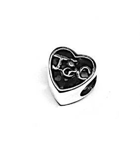 Outlander Inspired Silver Keepsake Heart Bead Charm 9739